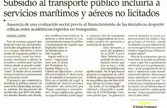 Subsidio al transporte público a servicios marítimos y aéreos no licitados