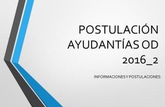 Postulación ayudantías cursos OD segundo semestre 2016  Minor en Ciencia política, UDD sede Concepción.