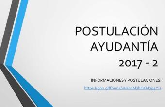 Postulación ayudantías carrera de ciencia política y políticas públicas segundo semestre 2017, UDD sede Concepción.