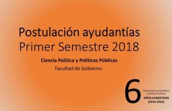 Abierta postulación a ayudantías Ciencia Política y Políticas 2018